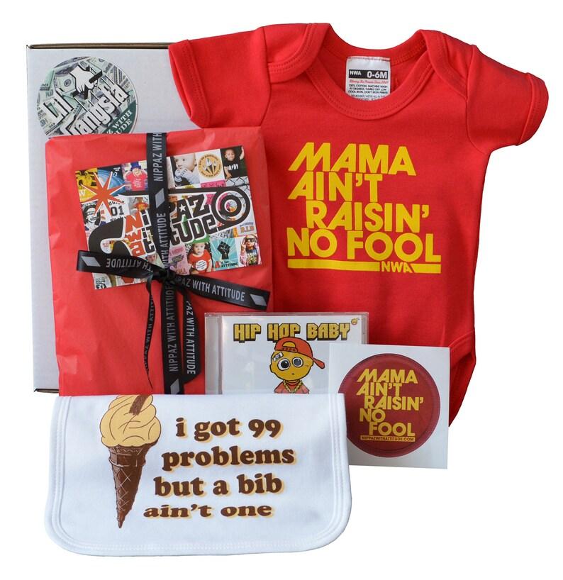 Red onesie or t-shirt Lil/' Gangsta Hip Hop Baby Gift Set Funny Newborn baby gift box. lullaby music CD /& sticker baby bib