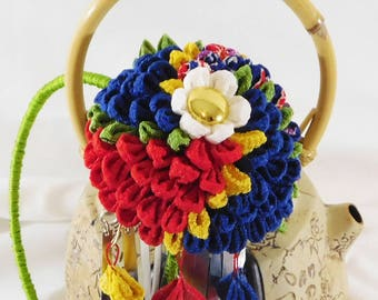 NEW Headband For Short Hair Tsumami Kanzashi Kiku Chrysanthemum with Shidare and Bira Bira Thread Wrapped