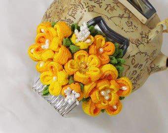 Pumpkin Orange and Goldenrod with Pearl Accent Double Sakura Bouquet Chirimen Rayon Tsumami Kanzashi Hair Comb