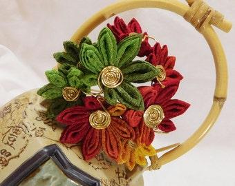 Momiji Japanese Maple Leaves Multicolor Chirimen Tsumami Kanzashi Hair Pin Leaf Bouquet