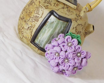 Hydrangea Chirimen Tsumami Kanzashi of June Purple Hair Pin Thread Wrapped