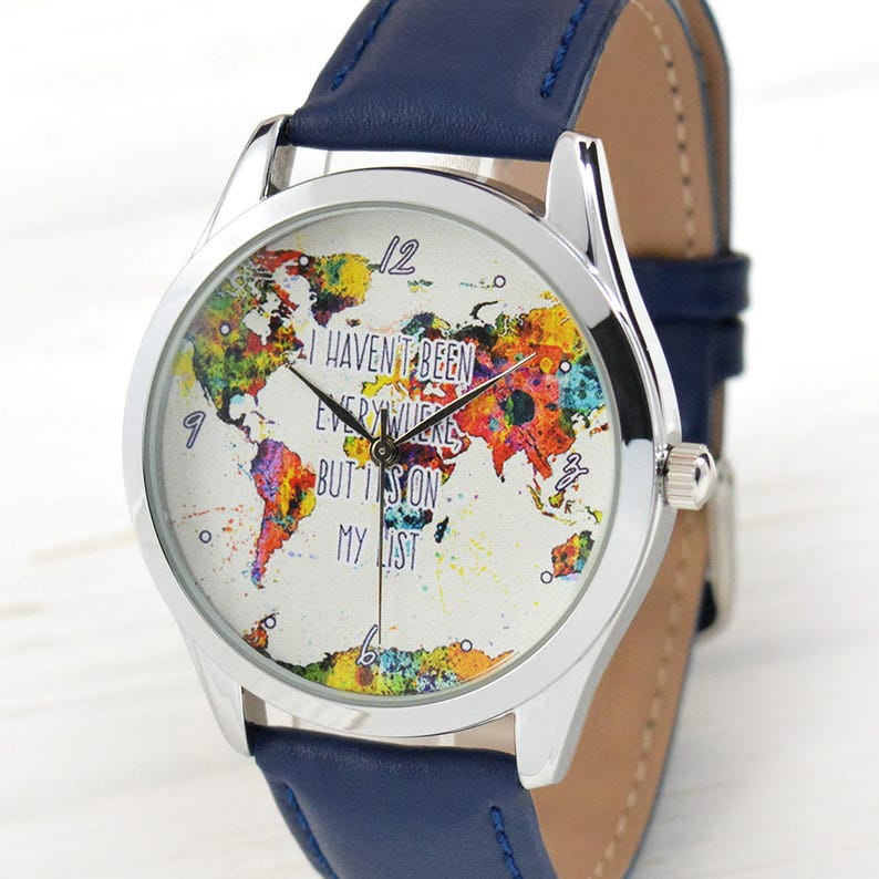 World Map Watch - Women Watches - Leather Watch - Men\'s Watch - Traveler  Gift - Watercolor - Gift for Traveler - Wanderlust - FREE SHIPPING