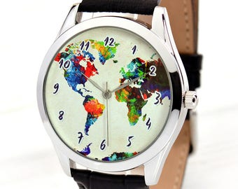 Travel Gifts for Men And Women | Map Watch | Watercolor Art World Map Watch | Traveler Gift | Boyfriend Gift | Wanderlust | FREE SHIPPING
