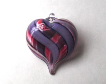 Purple Pink Stripe Heart Ornament : DISASTER RELIEF