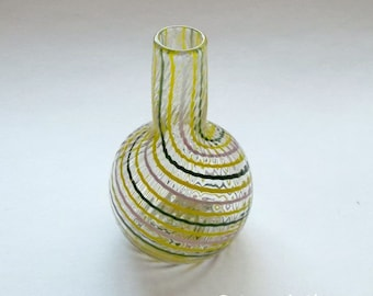 Small Bud Vase -  Lime Green Purple stripe : Disaster Relief