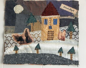 Art quilt/Fabric collage/Story quilt/Applique/Quilt/Vintage textile/Vintage photos/Christmas/Wall hanging/Fiber/Art/Textile/Recycled/Fabric