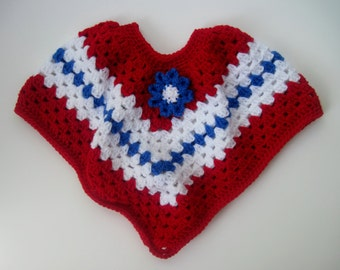 Baby Poncho Sweater - Crochet in Red, White and Blue - 6 to 12 Months with Flower Applique