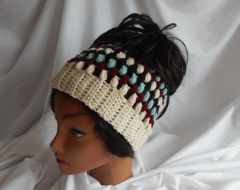 Messy Bun Hat Pony Tail Hat - Crochet Woman's Fashion Hat - Wine, Sage, Black