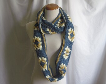 Infinity Granny Square Scarf Cowl Crochet - Windsor Blue, Honey Brown and Off White