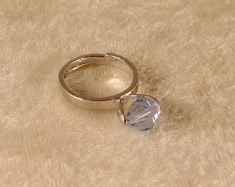 Light Sapphire Swarovski Crystal Ring