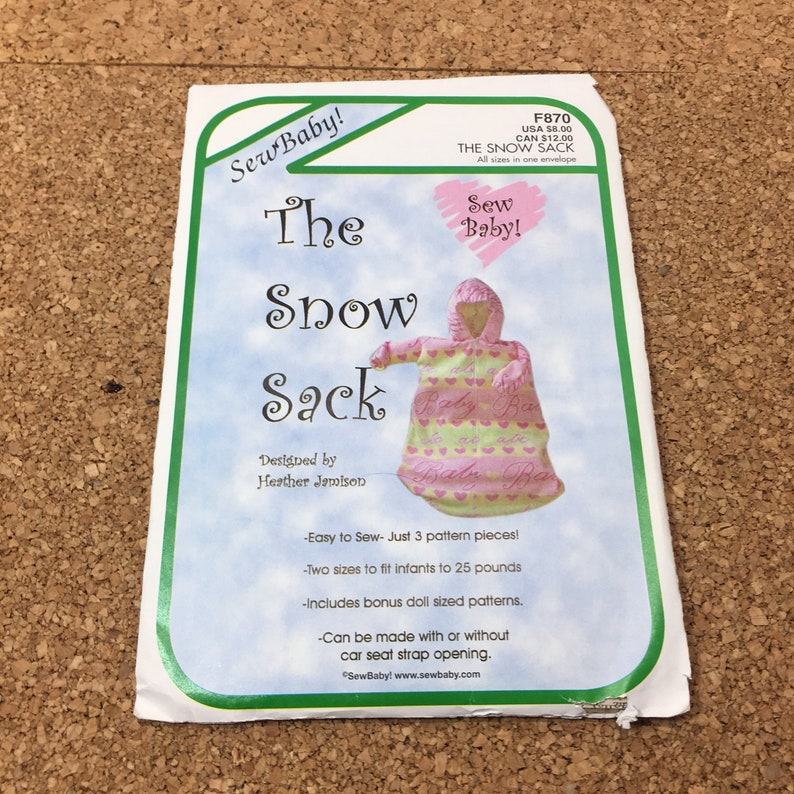 SEWING PATTERN - Sew Baby! F870 The Snow Sack, Easy to Sew with 3 Pieces, 2  Sizes for Infants Up to 25 Pounds