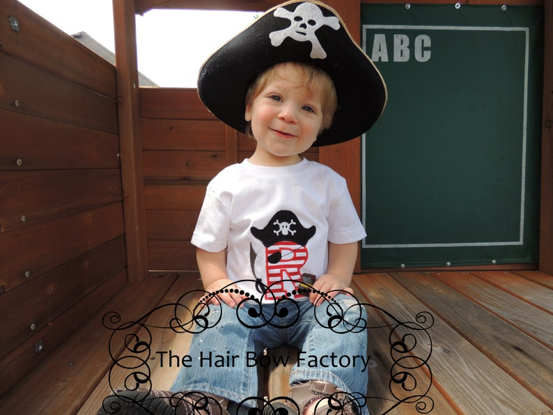 The Hair Bow Factory Applique Pirate Letter Monogram Shirt image 0