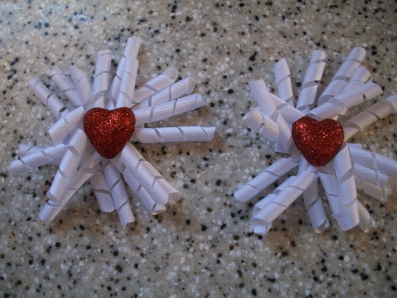 The Hair Bow Factory Valentines Day White Korker Hair Bows Set image 0