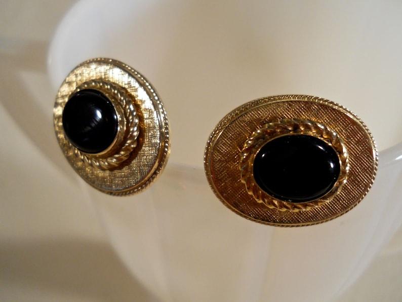 Destino Gold Tone Black Onyx Cuff links
