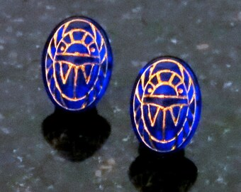 Glass Scarab Earrings Sapphire Blue with Gold Engravings Scarab Post Earrings
