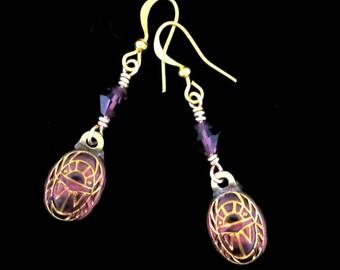 Scarab Earrings Amethyst Purple with Gold Engravings Scarab Drop Dangle Earrings