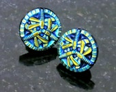 Dragonfly Earrings Electric Turquoise Blue Glass 3 Dragonflies 3D Post Earrings