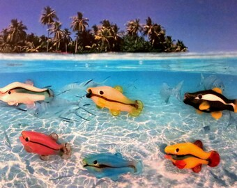 6 Handmade Lampwork Tropical Fish Beads Blue,Yellow,White,Black,Gray,Pink Glass Fish Beads