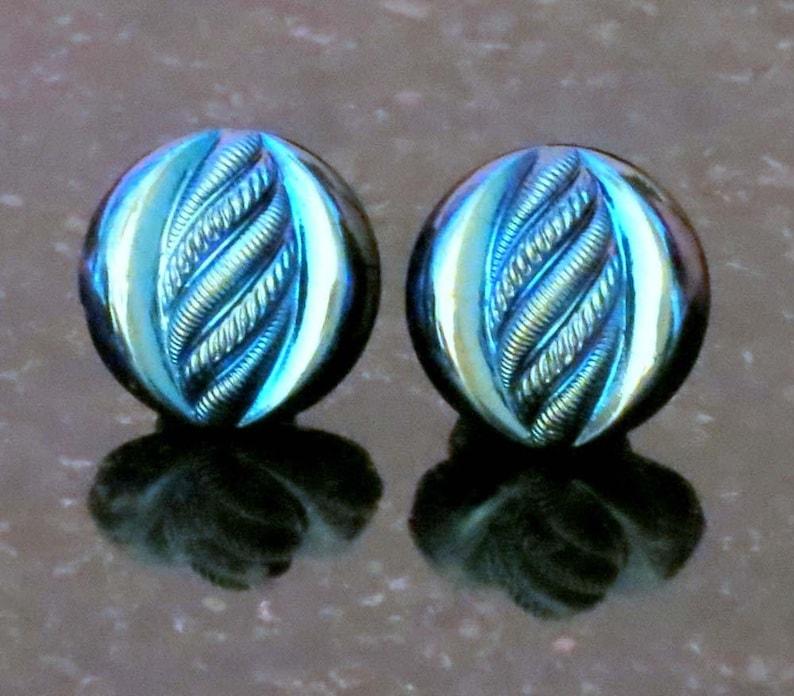 Earrings Vintage Cabochon Glass Earrings Electric Turquoise Blue Scarab Button Earrings