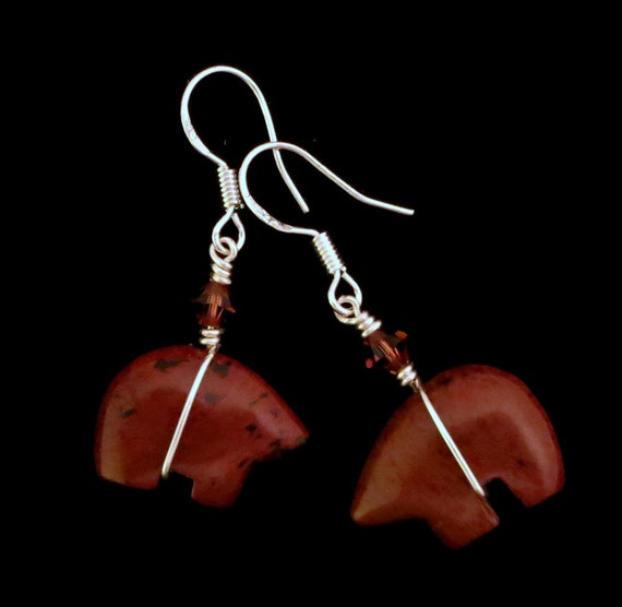 Natural Red Jasper Gemstone Zuni Bear Sterling Silver Dangle Earrings