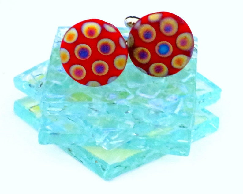 Vintage German Glass Peacock Cufflinks Red Background Multi Color Gold Cufflinks
