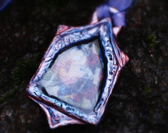 Magic Window Pendant with purple ribbon