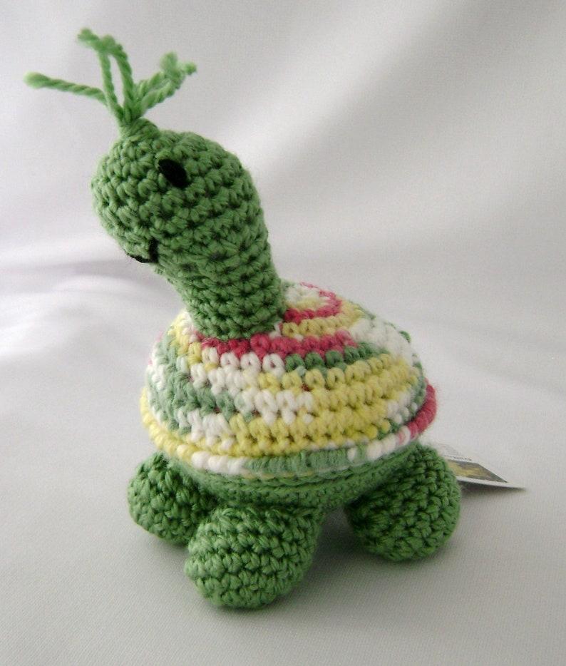 Green Petite Turtle Crocheted Amigurumi Stuffed Toy ready to image 0