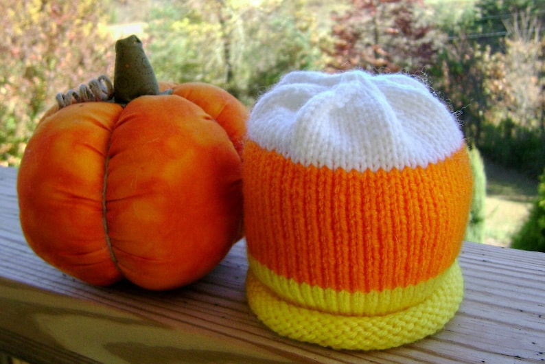 Candy Corn Knitted Baby Hat made to order image 0