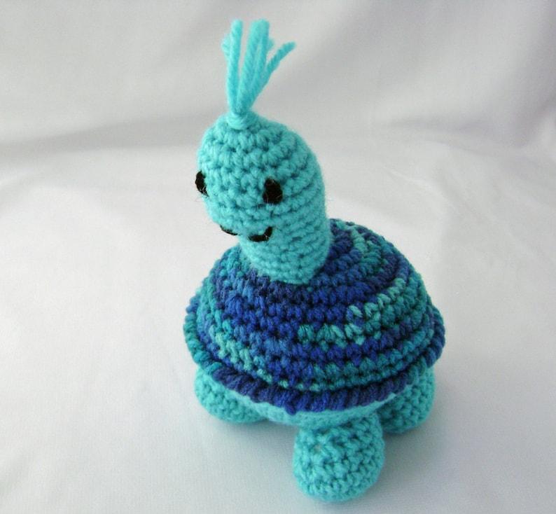 Tyler the Turquoise Turtle Crocheted Amigurumi Stuffed Toy image 0