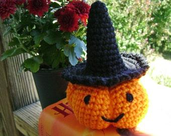 Punkin the Witch Halloween Pumpkin Crocheted Amigurumi made to order