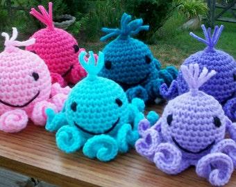 Amigurumi Octopi in Pastels - Crocheted Stuffed Toy