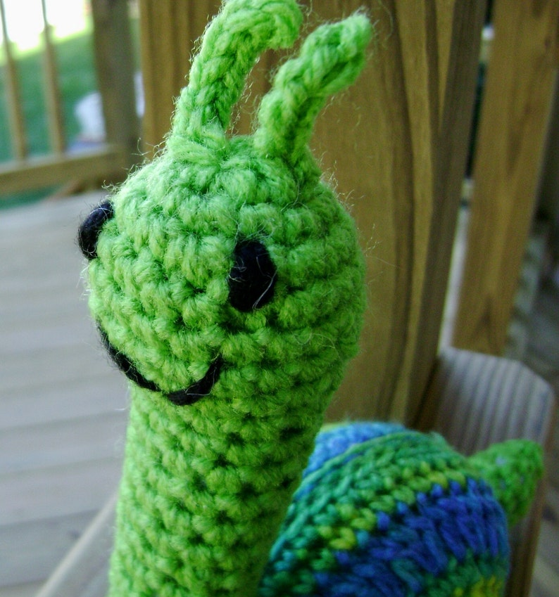 Snippy the Snail Amigurumi Crocheted green Stuffed Toy made to image 0