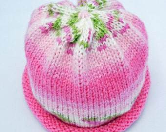 Rosebud Pink Knitted Baby Hat made to order