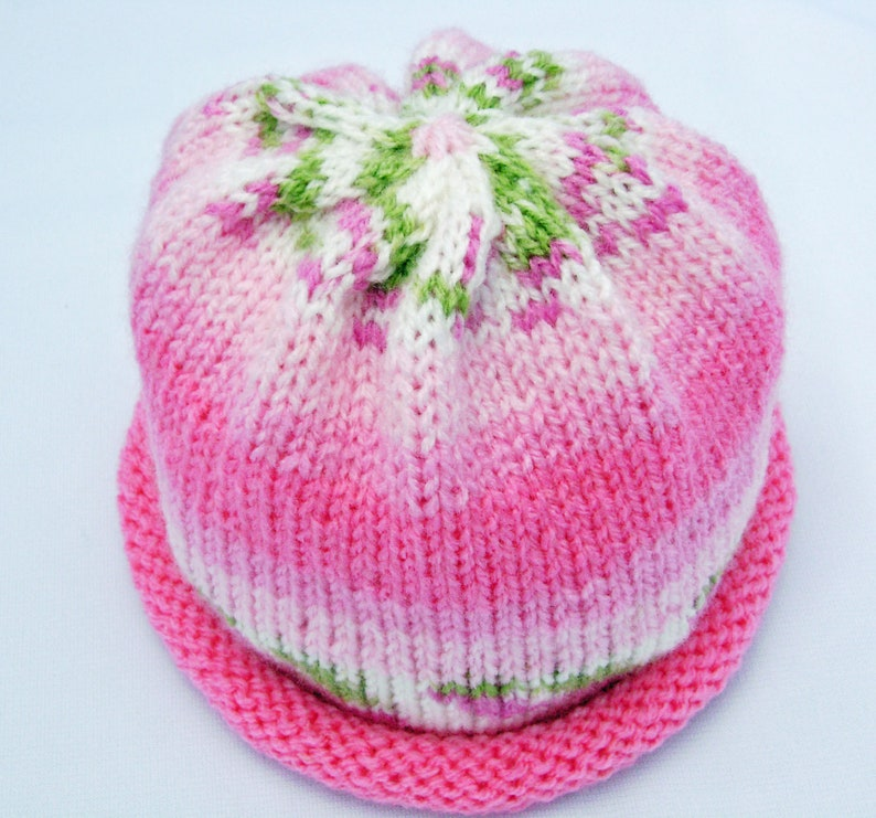 Rosebud Pink Knitted Baby Hat size 3 to 9 months ready to ship image 0