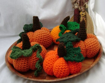 Autumn Pumpkin with leaf & vine - crocheted stuffed made to order