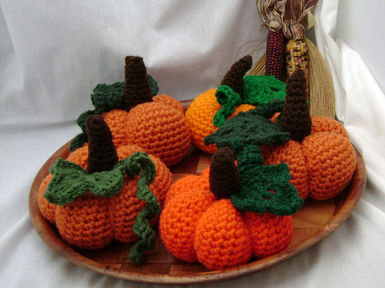 Autumn Pumpkin with leaf   crocheted stuffed image 0