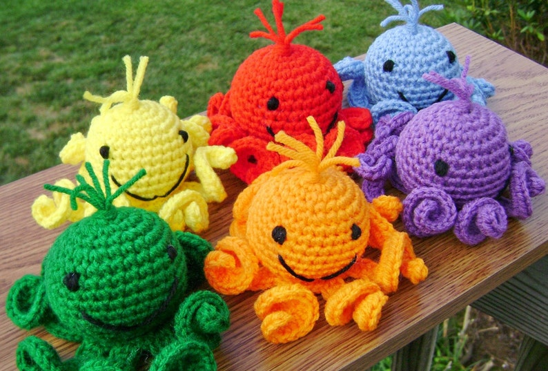 Rainbow Amigurumi Octopi  Stuffed Crocheted Toy image 0