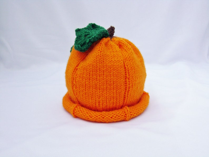Knitted Halloween Pumpkin Baby Hat made to order image 0