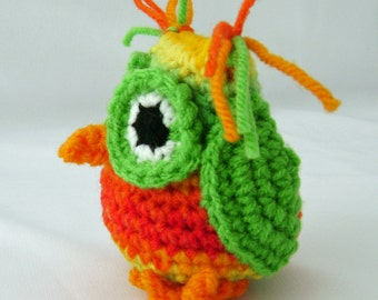 Hootie the Owl Rattle Crocheted Stuffed Toy ready to ship