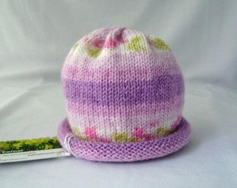 Blackraspberry Handknit Baby Hat lavender purple made to order