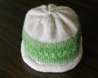 Green and White Nordic Print Knitted Baby Hat size 3 to 6 months ready to ship
