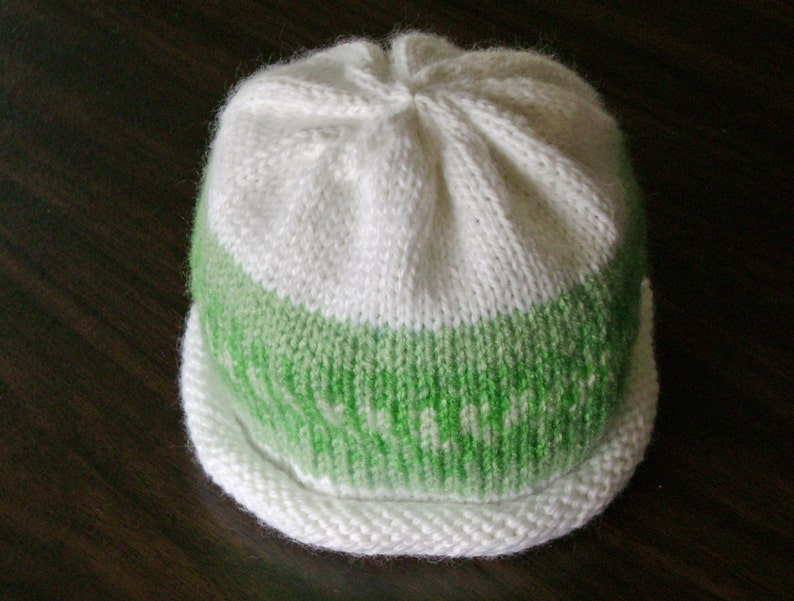 Green and White Nordic Print Knitted Baby Hat size 3 to 6 image 0