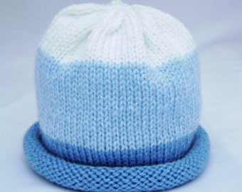 Blue and White Knitted Baby Hat size newborn ready to ship