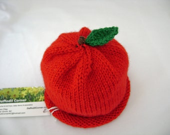 Red Apple Handknit Baby Hat with Stem and Leaf made to order