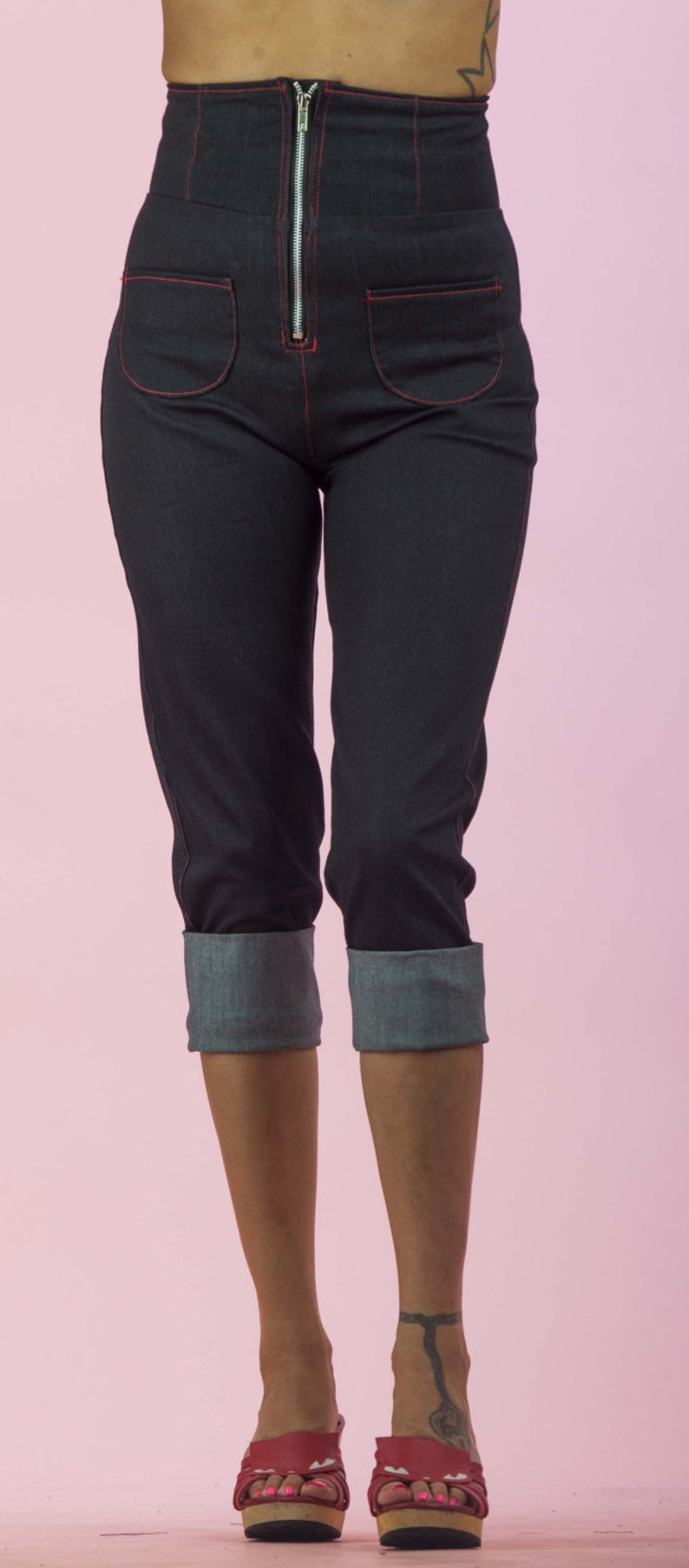 1950s Pants & Jeans- High Waist, Wide Leg, Capri, Pedal Pushers High Waisted Roll Up Capri Pants Retro / Rockabilly / Vintage 50s Pinup Clothing $56.00 AT vintagedancer.com