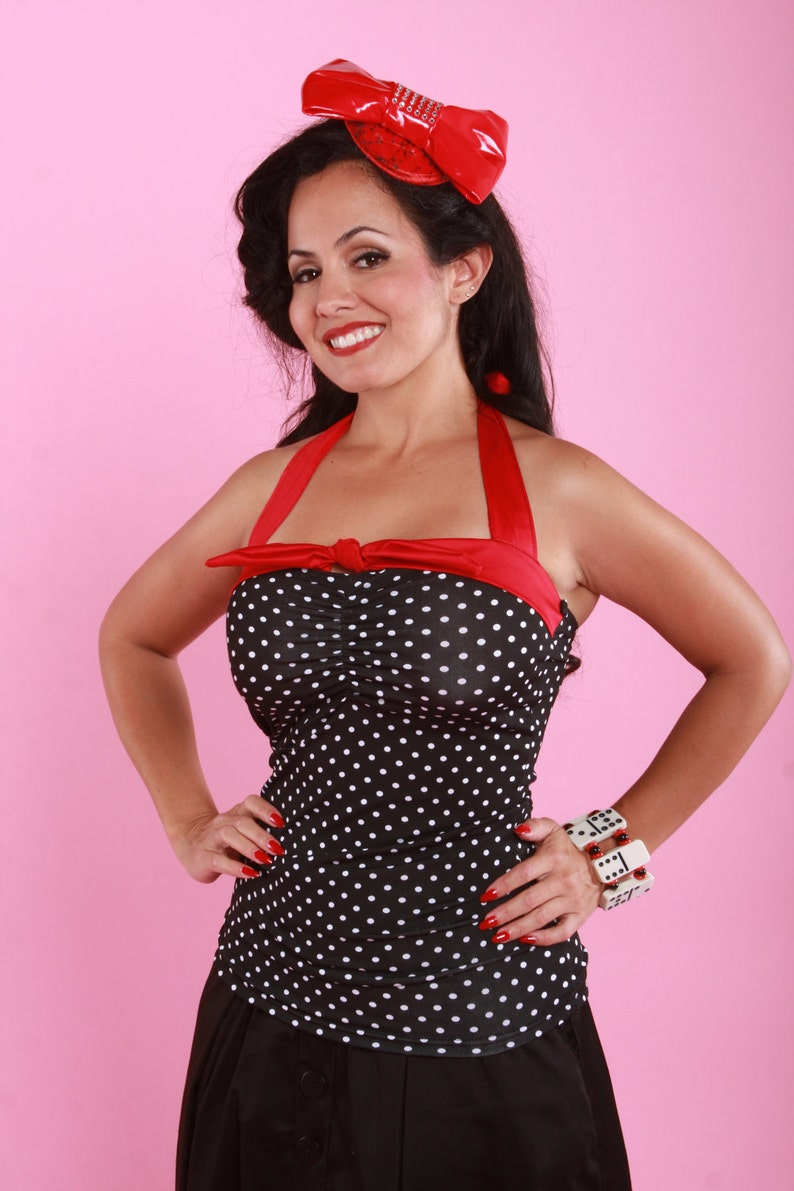 online store a8d21 65971 Small Dots Halter Top Retro / Rockabilly / Vintage 50s Pinup Clothing