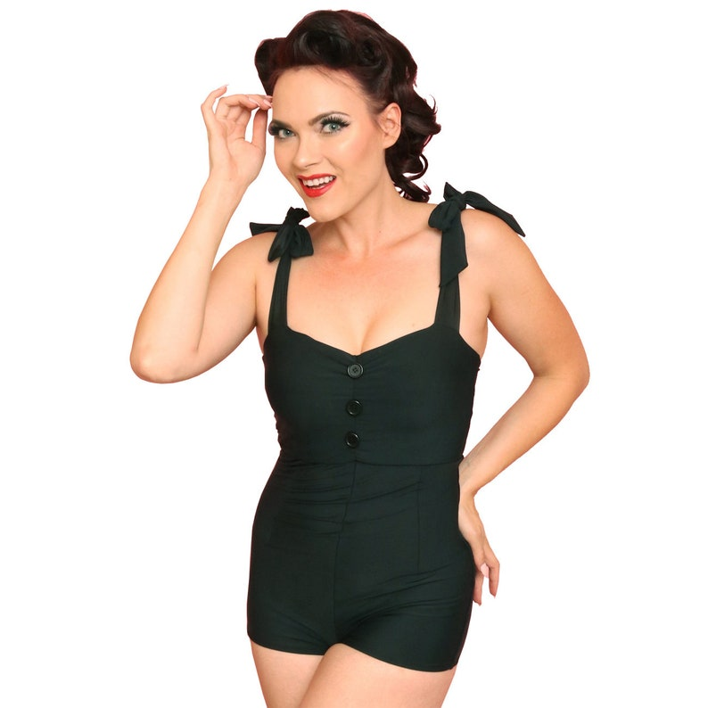 Vintage Style Black Pin-Up Romper Swimsuit