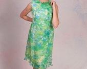 Vintage 1960 39 s Garden Party Chiffon Floral Summer Dress Size Medium