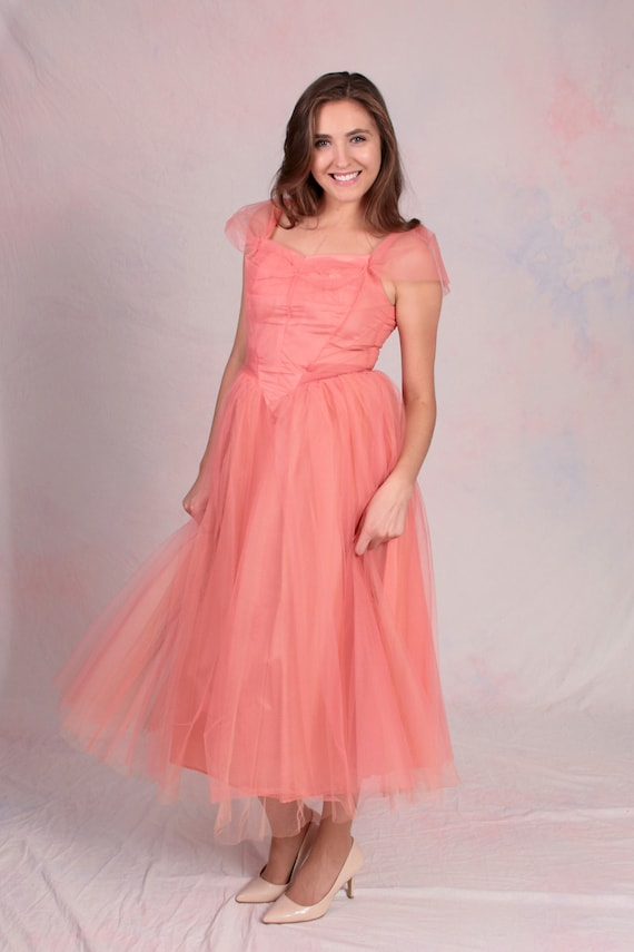 Vintage 1950's Alfred Angelo Salmon Pink Tulle Off