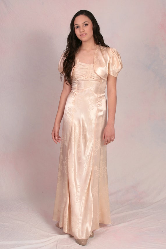 Vintage 1930's Cream Ivory Satin Old Hollywood Gla